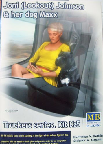 Master Box MB24045 Joni (Lookout) Johnson & her dog Maxx,  Truckers series Kit5 in Bausatz 1:24 OVP