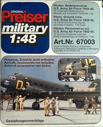 Preiser Military 67003 USAAF pilot and ground crews 1942-1945 Bausatz 1:48 OVP