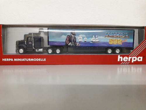 "Herpa 140874 GMC US Truck Koffersattelzug  ""America 500 years, Columbus"" in OVP"