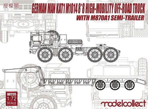 Modelcollect UA72125 MAN KAT1 M1014 8*8 High-Mobility Off-Road Truck with M870A1 Semi-Trailer 1:72