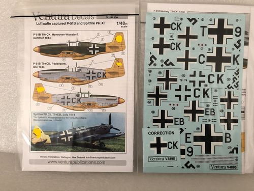 Ventura Decals V4895 Luftwaffe, captured P-51B Mustang and Spitfire PR.XI Decals 1/48 Neu OVP