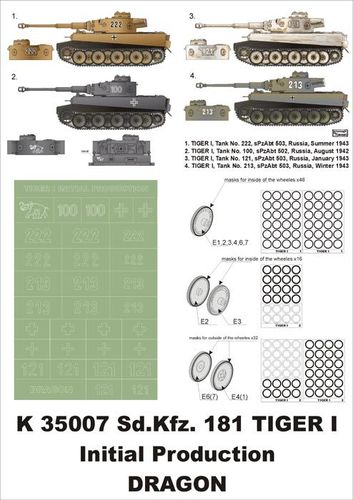 Montex Super Mask K 35007 PzKpfw VI Tiger I Initial Production für ein Dragon Modell 1:35 Neu