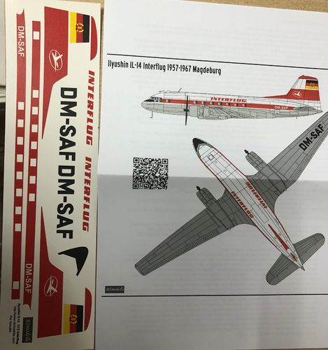 BSmodelle 720434 ILyusin Il-14P INTERFLUG decal 1:72 NEU