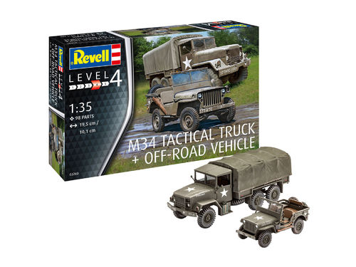 Revell 03260 M34 Tactical Truck + Off-Road Vehicle  Modellbausatz im Maßstab 1:35 Neu und OVP